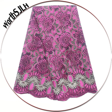 WorthSJLH African Party French Tulle Lace Fabric High Quality Purple Pink Nigeria Cord Dubai With Stones
