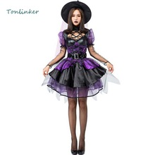 Halloween Gorgeous Purple Tutu Skirt Witch Costume Cosplay Short Dress+Hat Adult Women Carnival Party Stage Costumes
