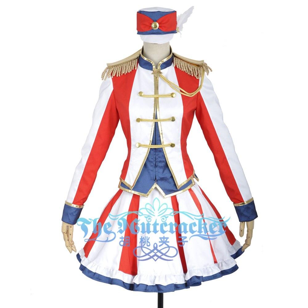 W0853 Costume de Cosplay de scène Sama Nanami Haruka Uta pas de Prince personnalisé à manches longues haut à la mode robe de bal chapeau Unifrom pour adulte