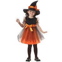 Halloween Costume For Girl Children Dance Costumes Witch Suit Hat Kids Party Dresses Christmas Costume Fancy