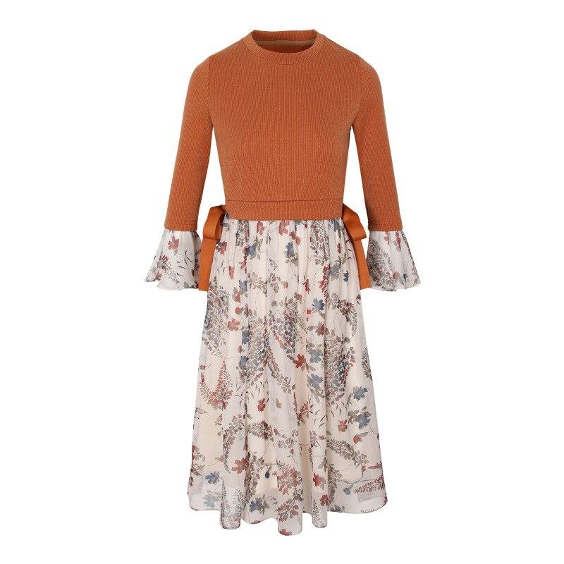 Elegant fashion printing women knitted chiffon dress spring autumn seven sleeve round collar ladies A line ladies dresses HM1086 fashion elegant m