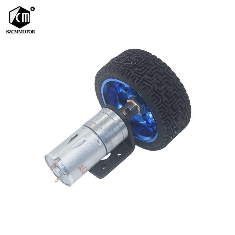Hobby RC Vehicle Motors Robot Parts DC 6Volt Geared Motors 65mm Wheel Kit 6v 12volt 12RPM to 1360 RPM Gearmotors все цены