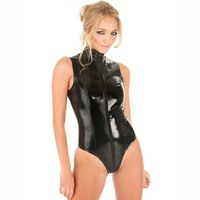 High Quality Hot Bodystocking Black Leather Lingerie Sexy Body Suits For Women Erotic Nightwear Underwear Catsuit