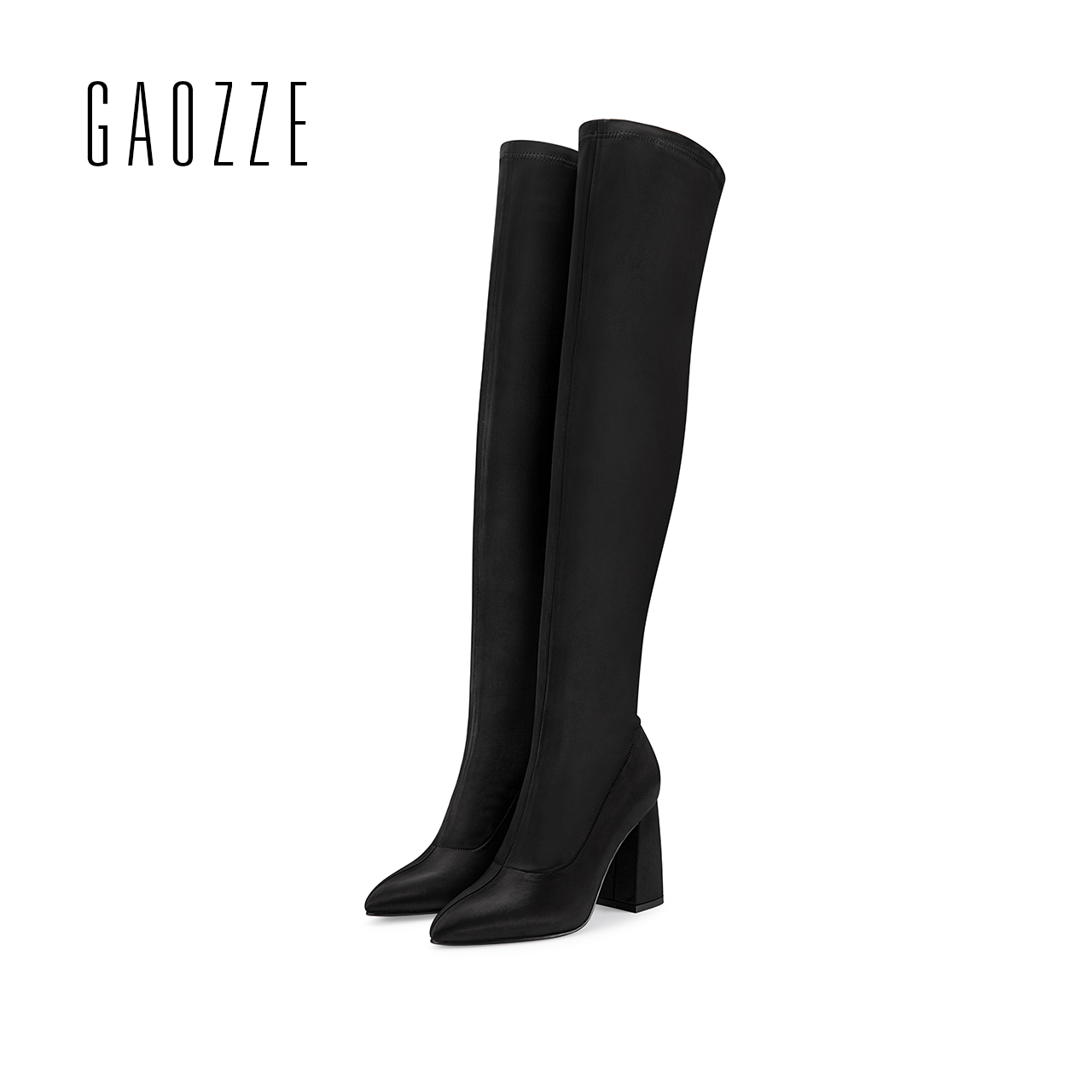 GAOZZE Winter Silk Stretch Boots Women 2017 New Pointed Toe Over Knee High Boots Square Heel Boots Female High Over Knee Boots 2017 autumn winter women motorcycle boots high heeled elasticity over the knee high boots pointed toe female long boots