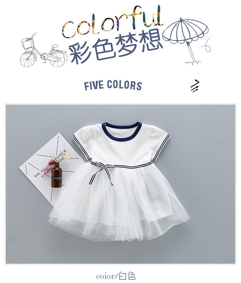 QAZIQILAND Zomerjurk met babymeisje 1 jaar Verjaardag feestjurk Witte - Babykleding - Foto 1