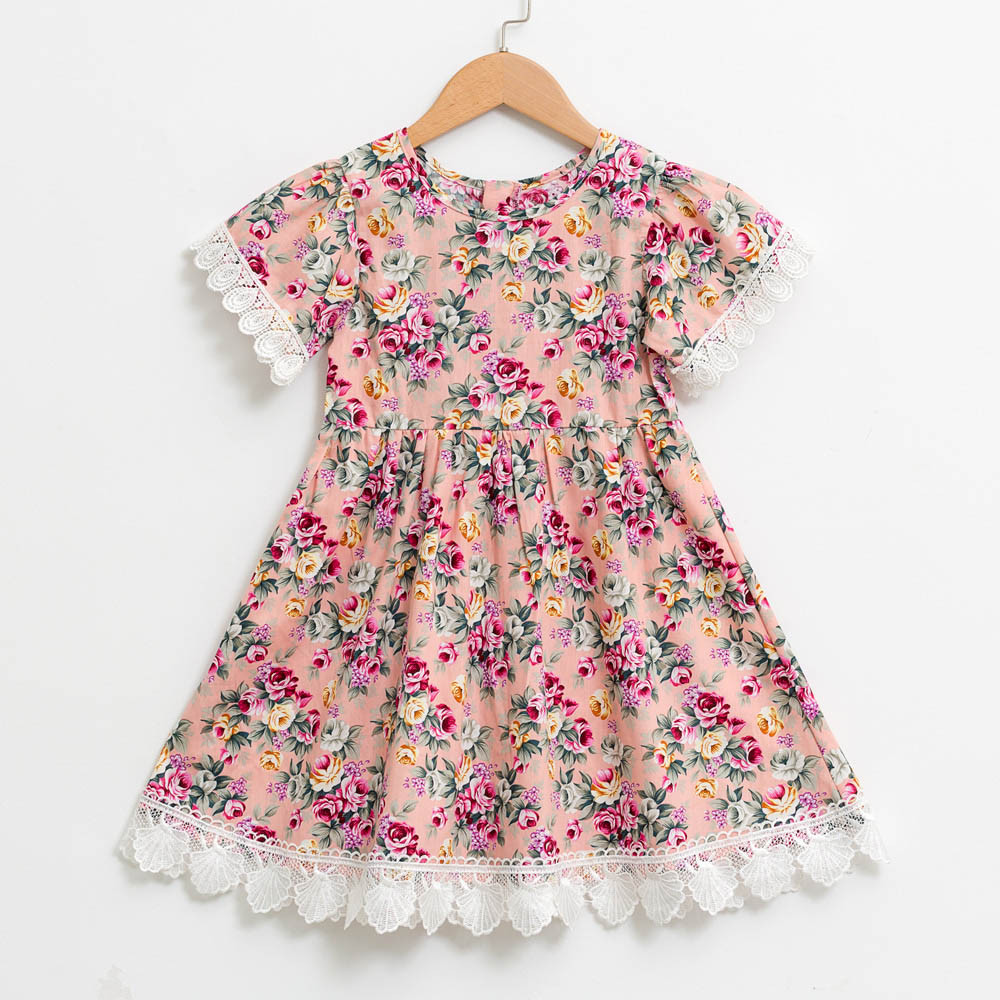 Telotuny High Quality Girls Dress Baby Girls Kids Infant Toddle Floral Cartoon Sleeveless Clothes Princess Dress JU 12