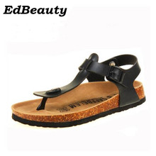 35-43 Fashion Cork Slipper Sandals 2017 New Summer Men Patchwork Beach Slides Double Buckle Flip Flops Shoe white Black red