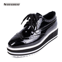 2016 Patent Leather Creepers Flat Shoes font b Women b font Oxford Platform Shoes For font
