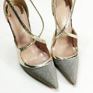 Image 4 - Keshangjia Fashion nuovo arriva pompe delle donne di modo croce fibbia scarpe a punta super high partito delle signore scarpe grandi dimensioni 35 44