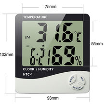 Digital LCD Thermometer Hygrometer Electronic Temperature Humidity Meter Weather Station Indoor Outdoor Tester Clock HTC-1 wireless weather station temperature humidity meter 4 sensor hygrometer digital thermometer wireless lcd clock indoor outdoor