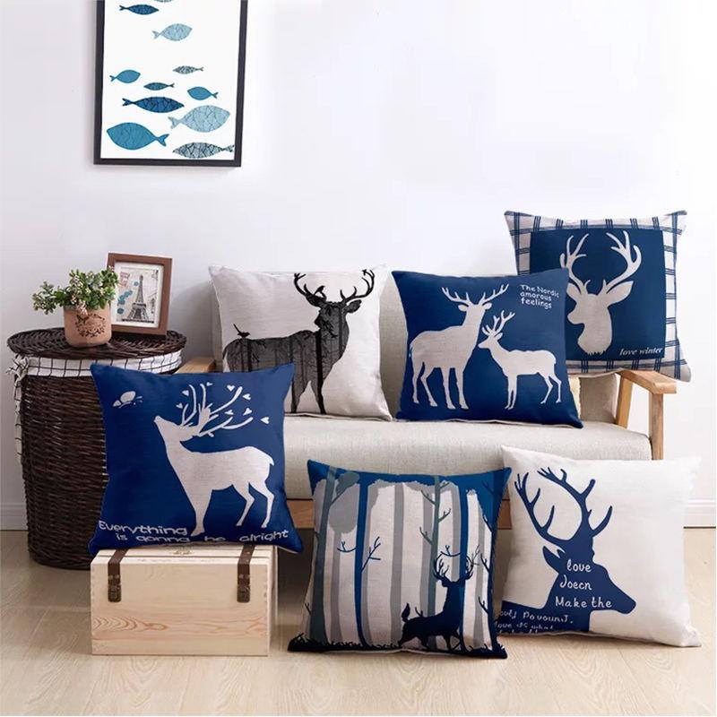 Table & Sofa Linens Trend Mark Nordic Deer Geometric Pillow Cover Decorative Linen Blue Yellow Chevron Cushion Cover Home Decor Pillow Case 45x45cm Pillow Sham Home Textile