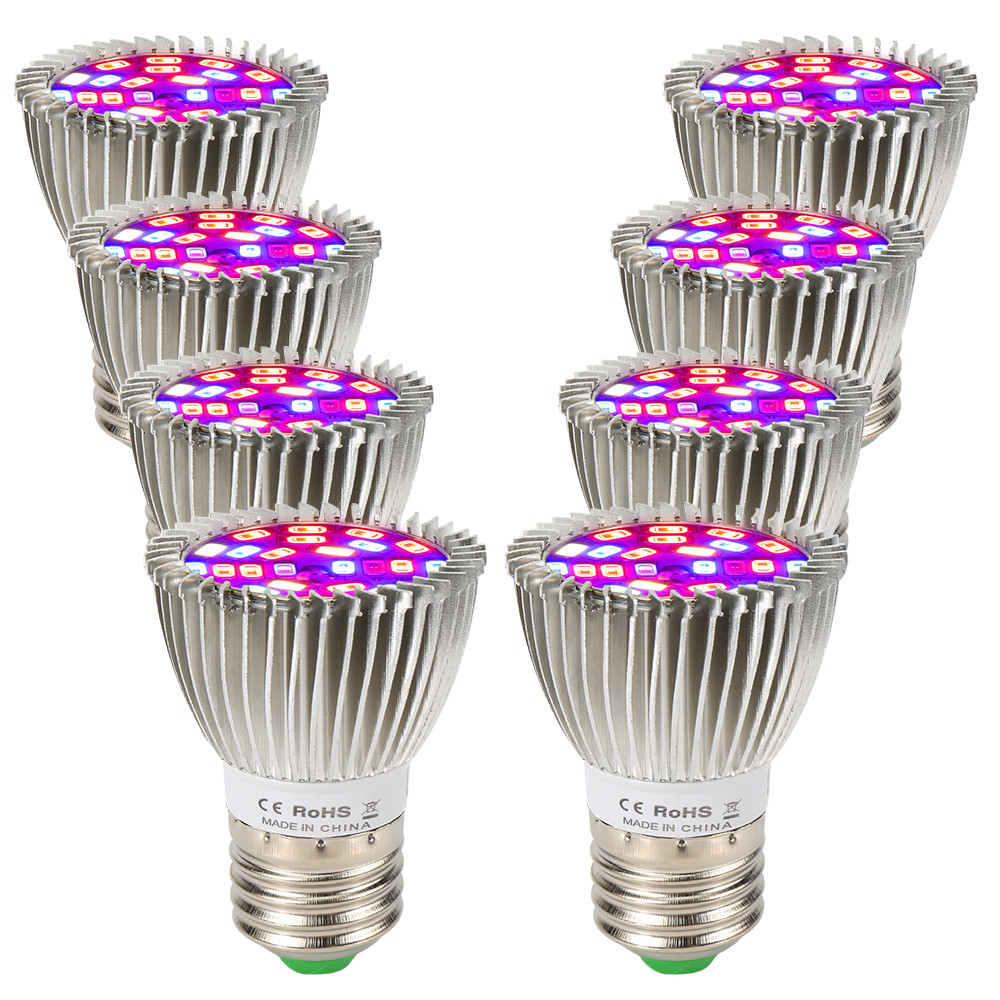 (8/Pack) 28W 28LED E27 LED Grow Light Full Spectrum For Indoor Plants Hydroponics System Overseas Warehouse Fast Shipping