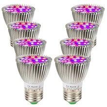 (8/חבילה) 28W 28LED E27 LED לגדול אור ספקטרום מלא גידול Led מנורת לצמחים מקורה מערכת הידרופוניקה לגדול אוהל מלא ערכת