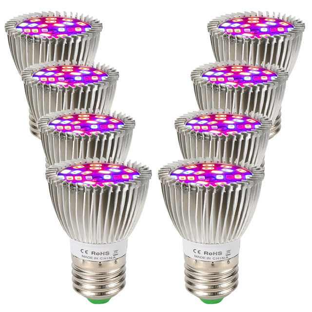 (8/Pack) 28W 28LED E27 LED Grow Light Full Spectrum Growing Led Lamp For Indoor Plants Hydroponics System Grow Tent Complete Kit