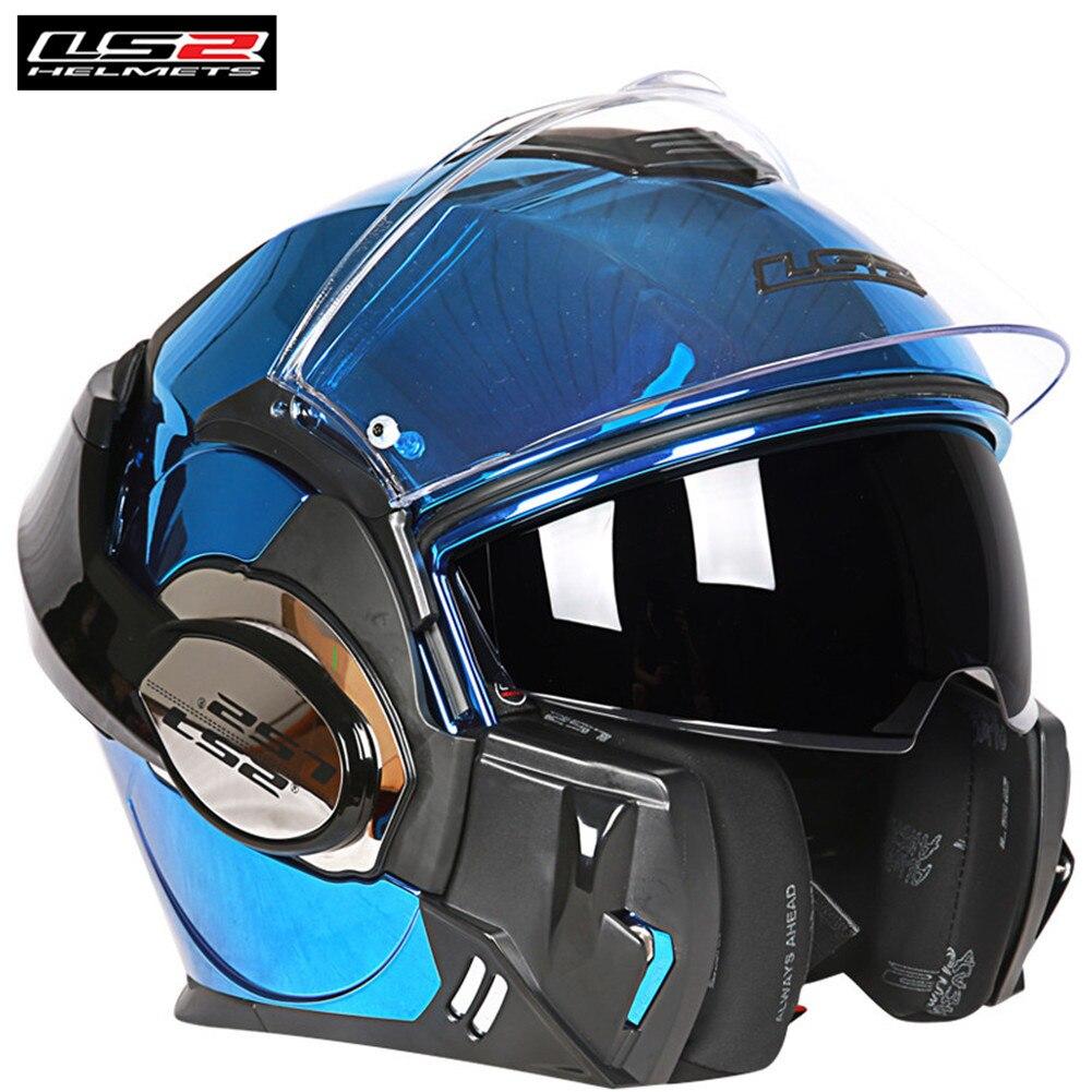 LS2 Vaillant Casque 180 Flip up Système Modulaire Moto Casque Intégral Double Bouclier Casque Moto Casco Urbain Casques