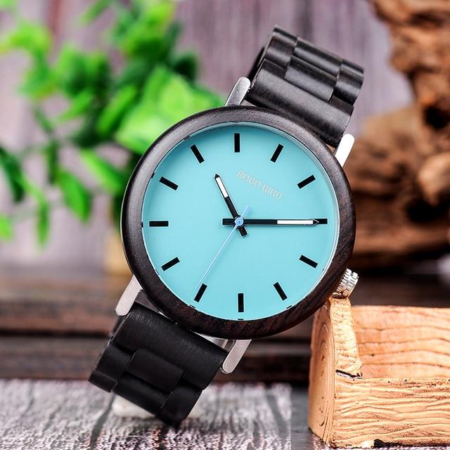 Relojes de madera para hombre combinación metal con caja