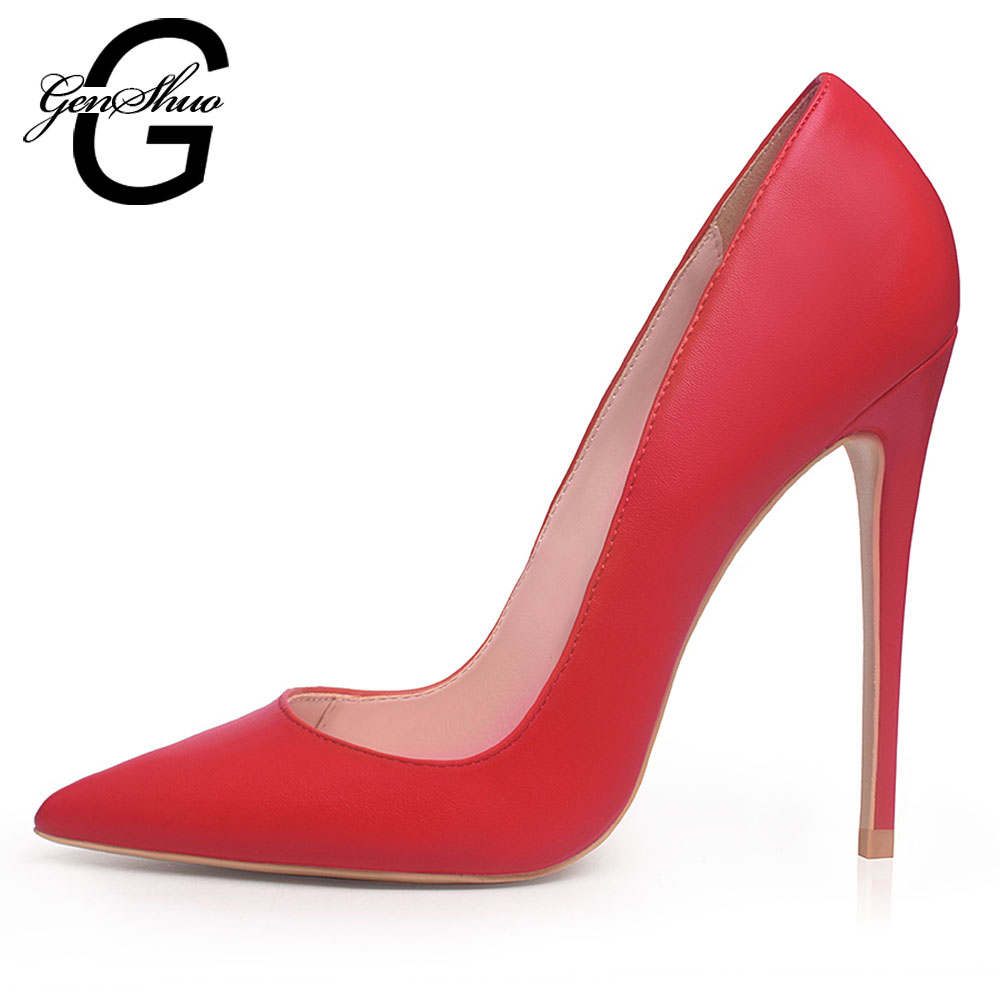 GENSHUO White High Heels Pumps Sexy Concise Solid Black Dress Shoes Shallow Pointed Toe Wedding Shoes Plus Size 5-12 Shoes Women