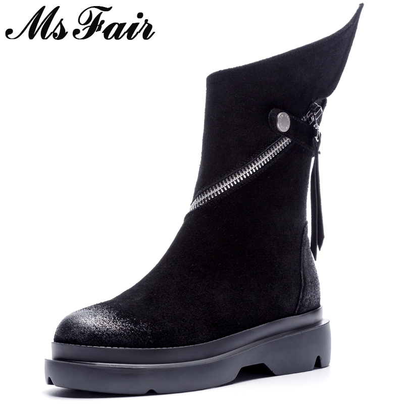 MSFAIR Women Boots 2018 Fashion Round Toe Thick Bottom Ankle Boots Women Shoes Metal Zipper Buckle Flat Boot Shoes For Girl