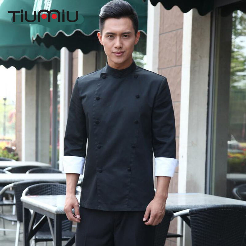 Hotel Restaurant Kitchen Chef Work Clothes Men Chef Jacket Double Breasted Long Sleeves Male Black White Cool Bake Chef Uniforms