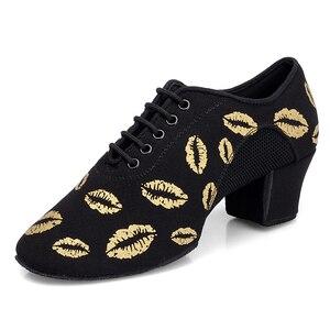 Image 3 - BD802 העקב 5 cm רך אוקספורד בד Cha Cha מורה ריקוד נעלי הדפסת BD סלוניים לטיני בלט נעלי ריקוד אישה