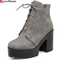 MookMeek Fashion New Arrive Women Boots Round Toe Zipper Autumn Winter Boots Black Gray Apricot Platform