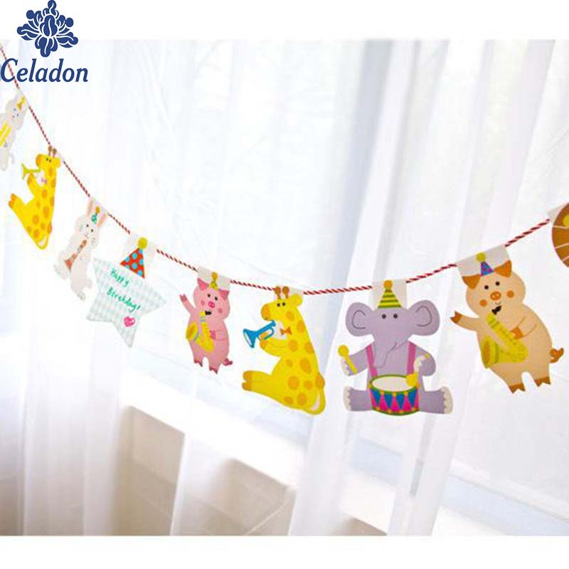 Super Cute Paperboard Happy Family Birthday Party Animal Flag Multicolour For Home Kindergarten Classroom Decoration