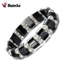 Rainso Fashion Pearl Hematite Health Care Magnets Bracelets for Women Black Natural Stone Bracelet Jewelry Dropshipping 2019(China)
