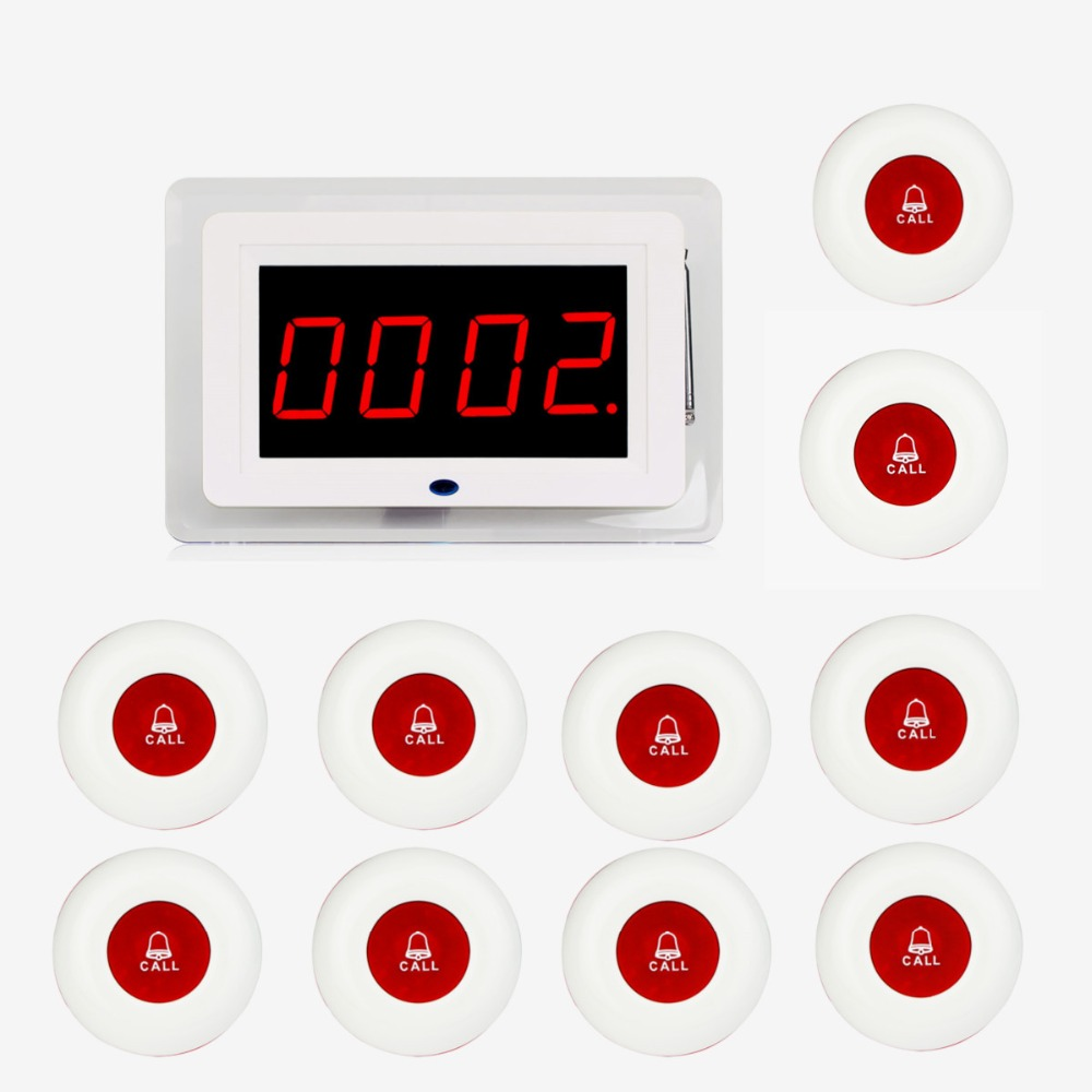 TIVDIO Wireless Waiter Nurse Calling Pager System Receiver Host Voice Broadcast +10pcs Call Transmitter Red Button Restaurant