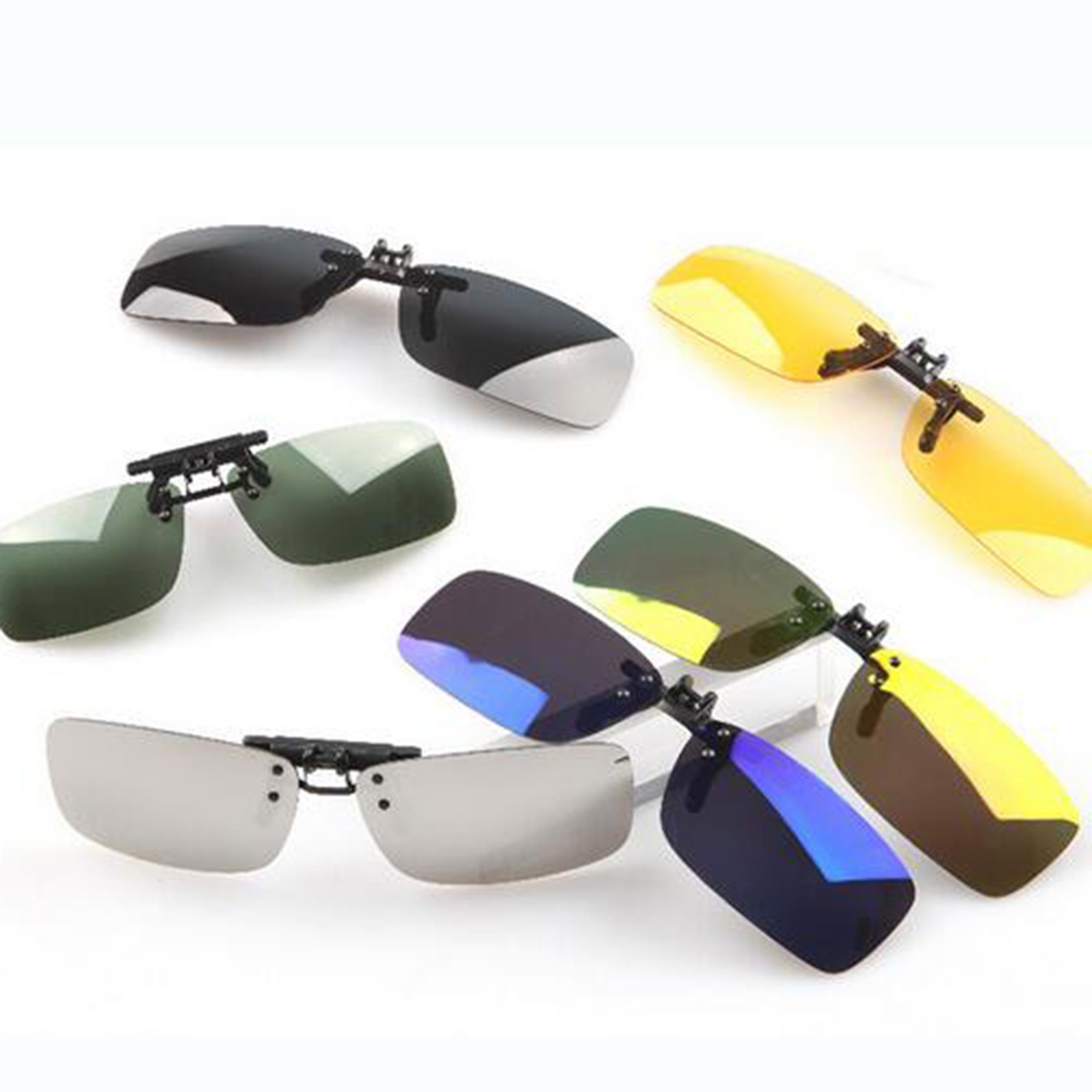 Unisex Polarized Clip On Sunglasses Driving Night Vision Lens Anti-UVA Anti-UVB Cycling Riding Sunglasses Clip For Near-Sighted стоимость