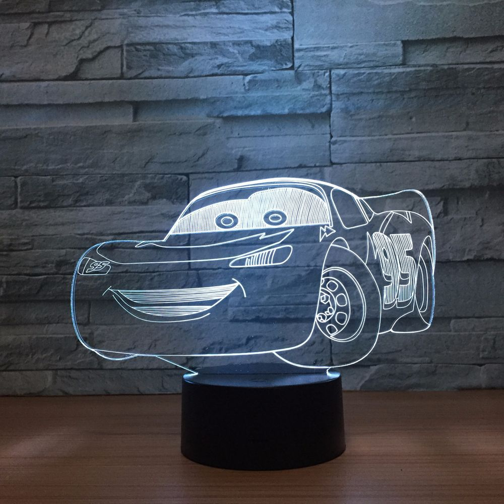 New Super Car 3D Night Light Racing Car USB LED Table Lamp 3D Illusion Lamp Children Kids Bedroom Decor sitting room lights цена