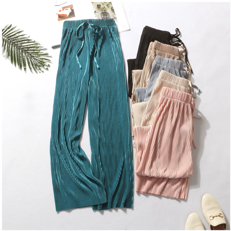Casual Women Summer Cool Breathable Female Chiffon Ice Silk Pleated   Wide     Leg     Pants   Ladies High Waist Vertical New Loose