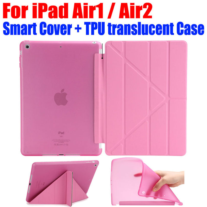 20pcs/Lot DHL Free Transform PU Leather Case for Apple ipad air 1 2 Fashion Smart Cover + TPU translucent back Cover I612 1 pcs diy car styling new pu leather free punch with cup holder central armrest cover case for ford 2013 fiesta part accessories