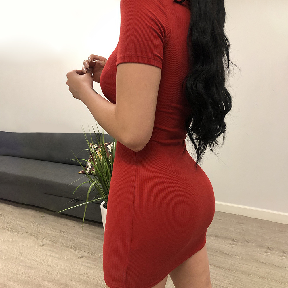 Breathable Mini Skinny Fashion Soft Package Hip Red Polyester Sexy Turn Down Collar Front Zipper Casual Short Sleeve Women Dress