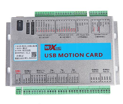 XHC MK3-V Mach3 USB 3 Axis CNC Motion Control Card Breakout Board 2 MHz Support Resume from Breakpoint & Spindle Speed Feedback freeshipping 0 to 10 vpwm spindle speed controller mach3 interface board