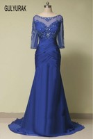 2016 Vintage Blue Long Evening Dresses Elegant Appliques Lace 3 4 Sleeves Mother Of The Bride