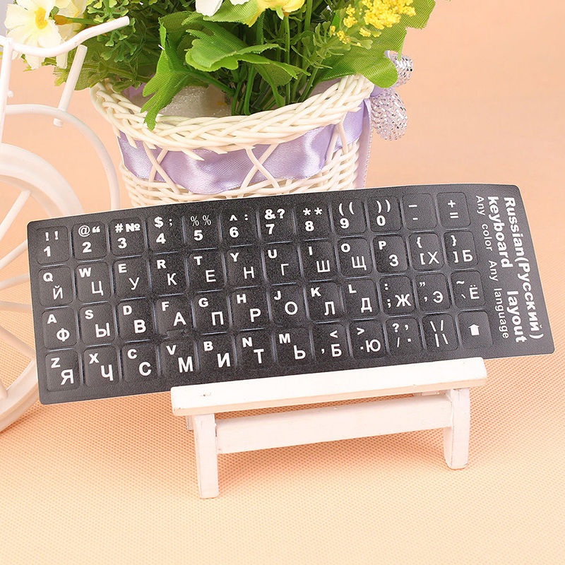 Russian Standard Keyboard Layout Stickers Decoration White Letters Replacement russian new laptop keyboard for samsung np300v5a np305v5a 300v5a ba75 03246c ru layout