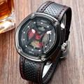 2016 AMST Последние Уникальный Дизайн Моды Большой Циферблат Часы Армии Военные Часы Montre Homme Водонепроницаемый Спортивный Кожаный Кварцевые Часы