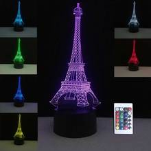 3D France Paris Eiffel Tower Colorful Table Lamps USB LED Lamp Mood Night Lights Bedroom Wedding Decoration Home Holiday Decor