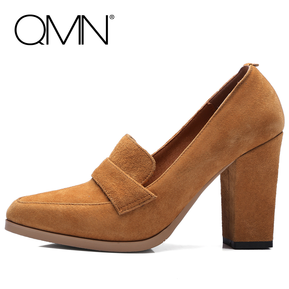 QMN women genuine leather pumps Women Pointed Toe Block High Heels Shoes Woman Natural Cow Suede Pumps 34-40