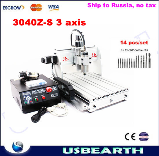 3 axis CNC router 3040 Z-S 800W spindle cnc milling machine, with free drilling bits to Russia free tax eur free tax cnc 6040z frame of engraving and milling machine for diy cnc router