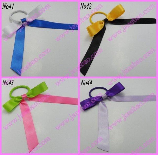 free shipping 1000pcs Pony O Hair Bow Ponytail Streamers mix color ponytail  holder bows c0309ccb6cc