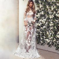 Hollow Out White Mesh Lace Women Dress Summer Style Long Sleeve O Neck Sexy Dresses Elegant