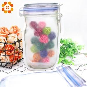 Image 4 - 5pcs/lot Convenient PE Mason Bottles Bags Nuts Cookies Candy Snacks Sealed Plastic Bag Home Decoration Storage Supplies