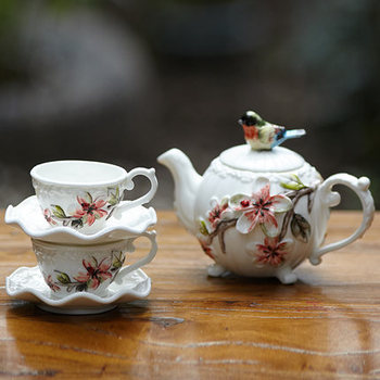 bird teapot cup ceramic cup group kettle coffee cup set combination of flowers and tea