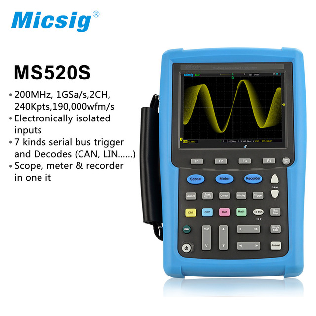Micsig isolated channels digital handheld oscilloscope 100MHz 200MHz scopemeter oscilloscope Automotive touchscreen portable