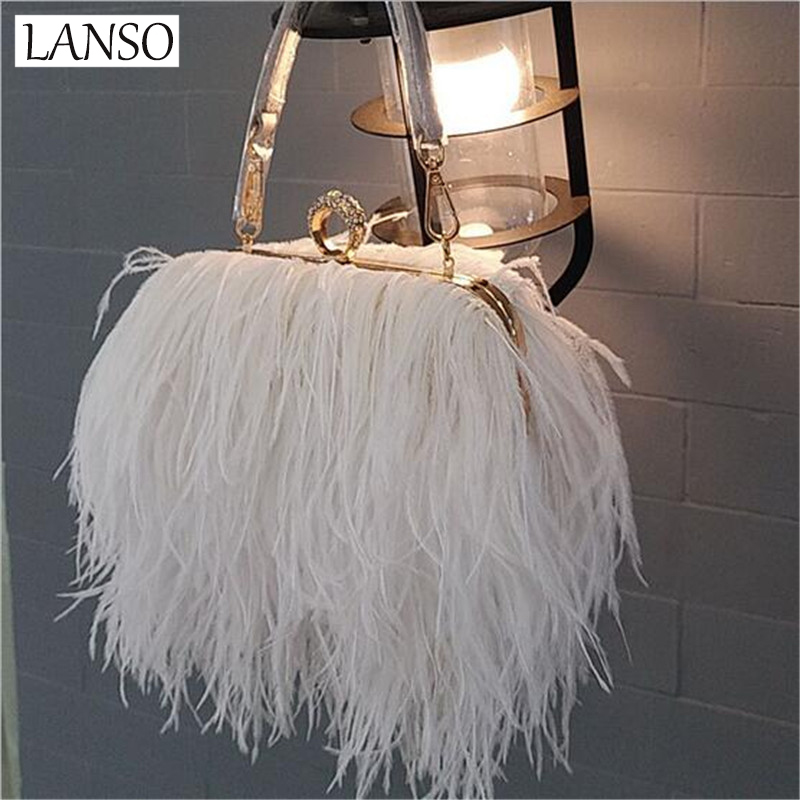 LANSO Brand Women Fur Bags Famous Brand Women Clutches Ladies Evening Clutch Purse Fashion Ostrich Feather Hand Bag Luxurious