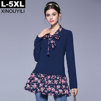 Fashion Print Ruffles Patchwork Loose A-line t-shirt 2017 Autumn Deep Blue Color Long Sleeve Casual t-shirts 5XL Plus Size Tops