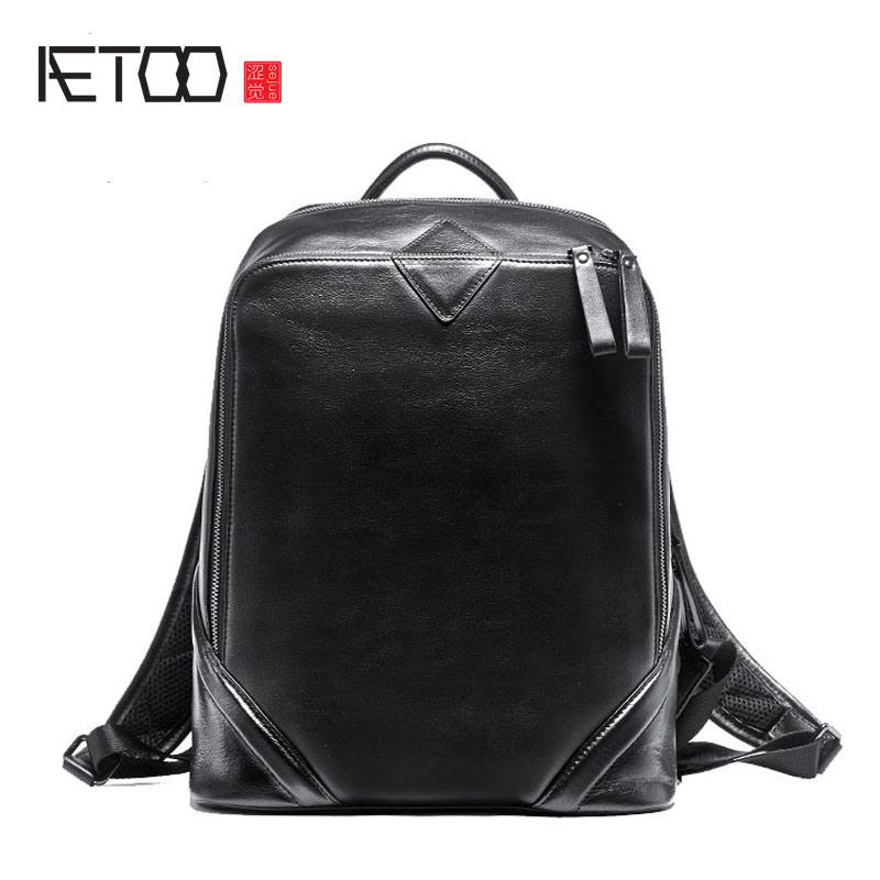 AETOO New men leather shoulder bag head layer leather leisure travel computer backpack aetoo canvas shoulder bag men travel bag leisure mountaineering bag with leather backpack