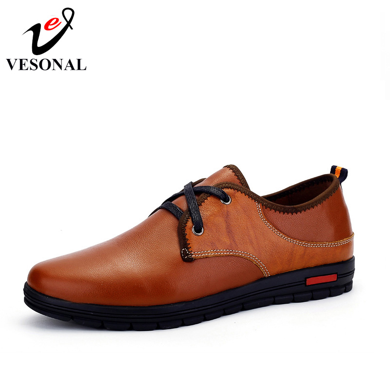 VESONAL Brand Male Shoes Men Adult Genuine Leather Walking Autumn 2017 New Business Breathable Footwear Quality Designer Man vesonal 2017 quality mocassin male brand genuine leather casual shoes men loafers breathable ons soft walking boat man footwear