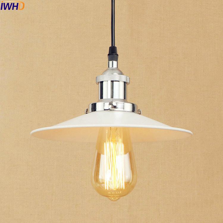 IWHD White Retro LED Pendant Lights Fxitures Dinning Room Hanging Vintage Lamp Edison Style Loft Industrial Light Home Lighting 2 pcs loft retro light rusty color hanging lamp cafe bar pendant lights creative edison lamps industrial style pendant lighting